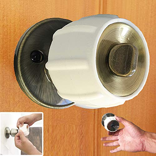New Enjoy Cover - Silicone Door knob Grips Maximum Grip Nonslip Arthritis & Senior Living Aids Grippy Easy Open Fits All Door Knob Universal Size Decorative Lifetime Warranty! 4 Pack (White)