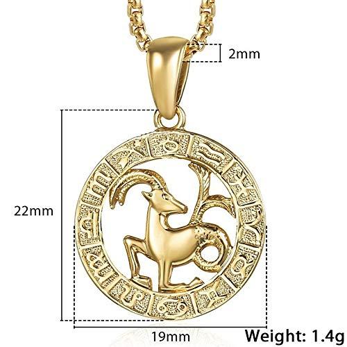 TREW Vrouwen van mannen 12 Horoscoop Zodiac Sign gouden hanger ketting Aries Leo 12 Constellations Jewelry (Length : 22inch 55cm Chain, Metal Color : GP366 Capricorn)