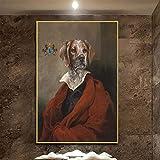 wZUN Vintage Perro Elegante imitando Arte de la Pared impresión del Cartel Animal con Abrigo Lienzo Pintura Sala de Estar decoración Imagen de la Pared 60x90 Sin Marco