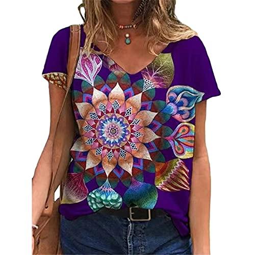 Tops Mujer Sexy Chic Impreso Escote En V Manga Corta Moda Tie Dye Suelto Cómodo T-Shirt Mujer Vacaciones Casual Elegante Verano para Camisetas Mujer C-Purple1 4XL