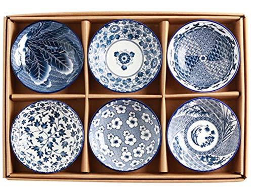 JINMENHUO 6pcs / 4pcs Chinesische Art Schüssel Klassische Keramik Blau Und Weiß Küche Reisschale Große Ramen Suppe Schüssel Suppe Schüssel Ramen Schüssel Set, 6 PCS