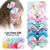 6pcs JOJO Siwa Hair Bows Alligator Clips for Girls Unicorn Grosgrain Ribbon Hair Barrettes Accessories for Toddler Kids (01)