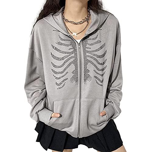 Tekaopuer Sudadera con capucha para mujer, E-Girl 90s Y2k con capucha Streetwear chaqueta de diamantes de imitación, H-gris, S