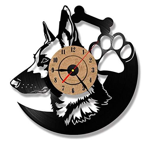 Gbrand Shepherd Dog Record RELOCK Reloj LED Relojes para Sala de Estar Registro de Vinilo Reloj de Colgante Iluminación de Silueta amimal Decoración de la habitación-B con led