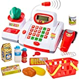 Buyger Grande Caja Registradora Juguetes con Luces y Sonido Supermercado Electrónica Escáner Micrófono Comida Juguetes Educativos Juego de rol para Niños Niña 3 4 5 Años