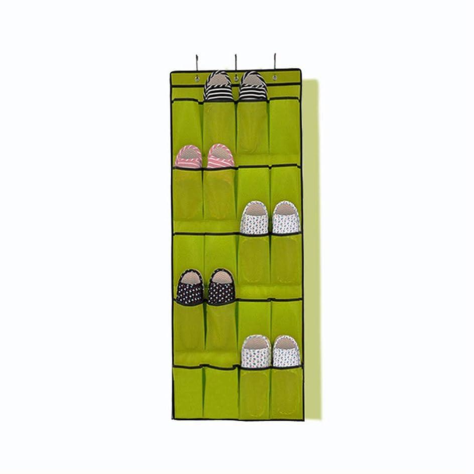 努力祖先驚ドアの靴収納 20不織布靴収納吊り吊り掛けドア後吊り袋多層織物収納掛け袋、1個。 クローゼット用 (色 : 緑)