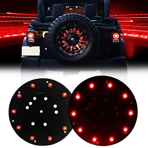 FIREBUG Jeep 3rd Brake Light LED, Jeep Spare Tire Brake Light, Jeep LED Brake Light, Jeep Accessories Lights for Spare Tire, Jeep Wrangler Spare Tire Brake Light JK JKU 2007-2017, Red