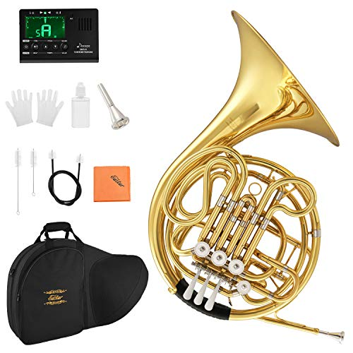 Eastar Double French Horn Key of F/Bb Standard 4-Key for Students Beginners Adults with Hard Case Tuner Mouthpiece Gloves Valve Oil and Cleaning Kit, EFH-480