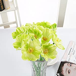 kaimimei Artificial Poppy Flowers Fake Flower Decorative Flower Real Touch 20 pcs Flower for Wedding Party Home Decoration(Green White Orange Red Yellow Pink)(vase not Include)