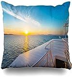 Throw Pillow Cover Blue Islands Grecia Sunset Barco Mar Mediterráneo Durante el Tour Flying Parks Cruise Deck Passenger Home Funda de Almohada Cuadrada Funda de Almohada Decorativa c 17×17pulgada