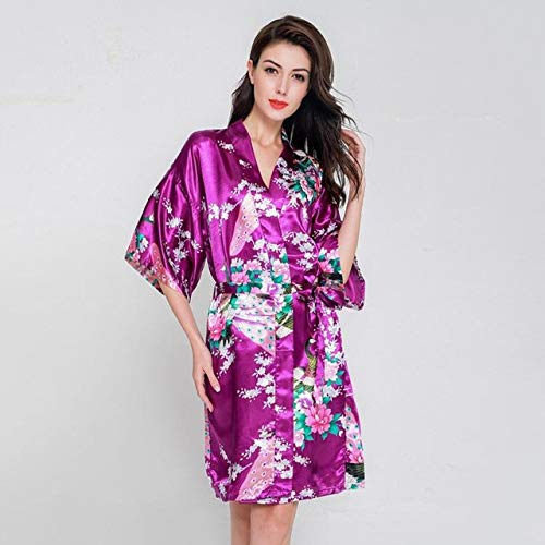 Handaxian Vestido de Novia de Novia XL Elegante Pijama de satén con Estampado de Flores Vestido de Albornoz con Kimono de Flores