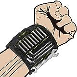 Kusonkey Pulsera Magnética Ajustable con 15 súper imanes. Muñequera perfecta práctica para bricolaje,fija bien tornillos, pernos, clavos, brocas. Ligero, durable y buen regalo para hombre y maquinaria