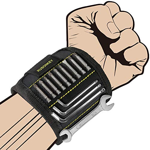 Magnetic Wristband, KUSONKEY Tool Belt with 15 Powerful Magnets for Holding Screws/Nails/Drill Bits, Versatile Father's Day Gift for Him/Men/Father/Dad/DIY Handyman/Electrician/Husband/Boyfriend