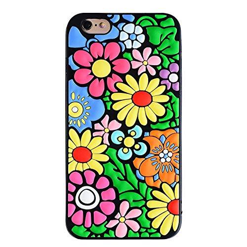 Joyleop Flowers Case for iPhone 6 6S,3D Colorful Vivid Floral Pattern Design Soft Silicone Cute Fun Cool Cover,Kawaii Unique Kids Girls Lady Gift,Creative Cartoon Fashion Color Rubber Cases for 6S 4.7
