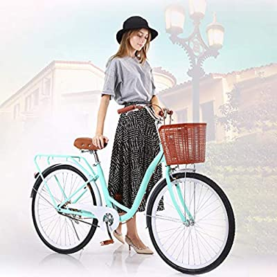 Beach Cruiser Bike for Women - Classic Cruiser Bike with Baskets - Leisure Vegetable Basket Bike | 26 Inch Women's Cruiser Bike Retro Bicycle - Leisure Picnics & Shopping