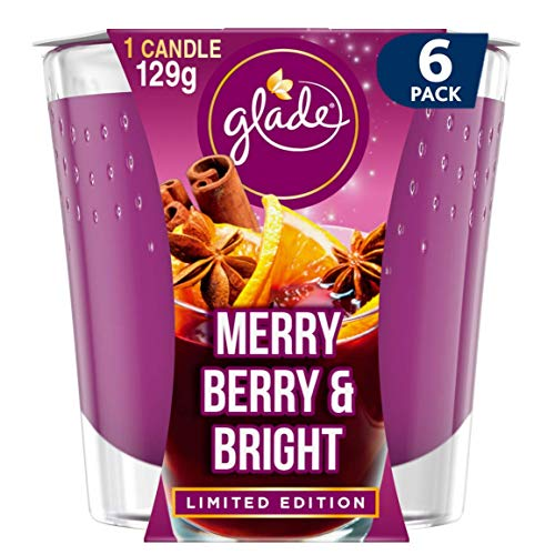Glade Candle, Air Freshener, Merry Berry & Bright, 129g, Pack of 6