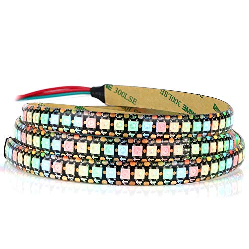 WS2812B - Tira LED RGB (144 píxeles/m, flexible, PCB, tira de color negro, IP65, impermeable, 5 V)