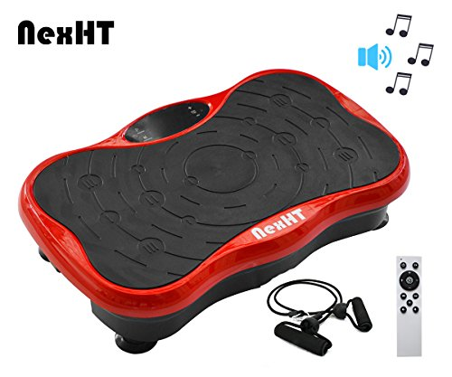 NexHT Mini Fitness Vibration Platform Whole Body Shape Exercise Machine with Built-in USB Speaker(89012A), Fit Vibration Plate Massage Workout Trainer with Two Bands &Remote,Max User Weight 330lbs.Red