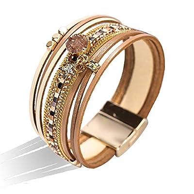 Multi-Layer Leather Wrap Bracelet - Movable Decor Boho Style Cuff Bangle Bracelet Inlaid Rhinestone with Magnetic Clasp Fashion Gift for Women, Girls (Champagne)