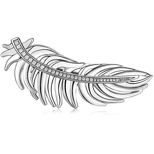 BROSWAY - Spilla in ottone rodiato a forma di piuma e pave di zirconi bianchi BROSWAY BUM41