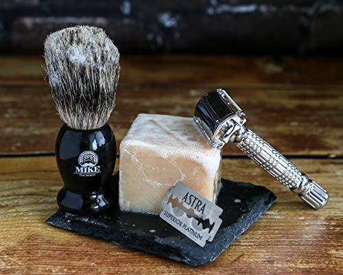 Complete Wet Shave Kit | Mike the Mason | Gift Set Includes: 1 Hawk Razor, 1 Pure 100% Badger Hair Brush, 1 Organic Honey Oatmeal Shave Bar, 5 Premium Mens Blades, and a Razor Stand - Father's Day Set