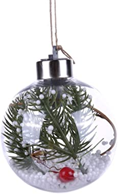 Adarl DIY Christmas Tree Bulbs Ornaments Clear Plastic Hanging Ball Ornament Fillable,LED Lighting with Warm White & Colo