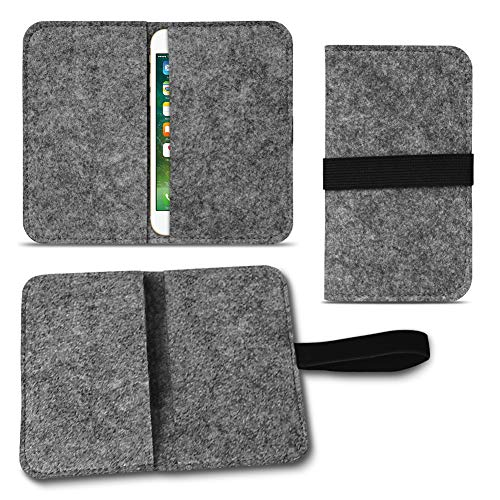 UC-Express Filz Hülle kompatibel für Apple iPhone 12 11 Pro Max Xs Xr X Max 7/8 Plus Smartphones Cover Tasche Hülle Flip Filztasche mit Kartenfach mit Straffen Gummiband, Farbe:Dunkel Grau