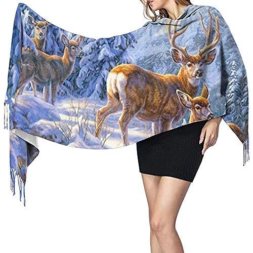 Zseeda Snowy Day Deer Print Cashmere Scarf Womens Casual Warm Scarf Wrap Chal grande