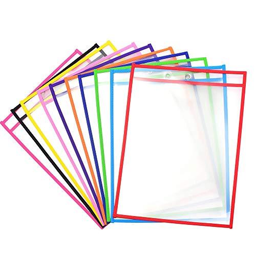 L-SRX - Confezione da 10 bustine cancellabili a secco, per scrivere e cancellare a secco, riutilizzabili e cancellabili a secco, per l'organizzazione scolastica, l'ufficio, l'educazione domestica