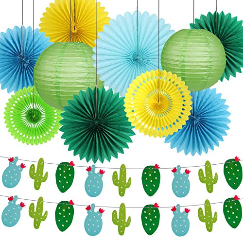 Cactus Party Decorations, Summer Theme Supplies Cactus Banner Garland Tissue Paper Fans Paper Lanterns for Tropical Birthday Bachelorette Party Home Decorations