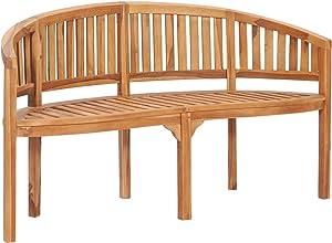 vidaXL Solid Teak Wood Banana Bench Outdoor Patio Garden Terrace Balcony Backyard Home Wooden Lounge Seating Seat Home Furniture 59.4