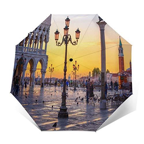 SUHETI Regenschirm Taschenschirm,Nachtansicht des Markusplatzes, Dogenpalast (Palazzo Ducale) in Venedig, Italien,Auf Zu Automatik,windsicher,stabil