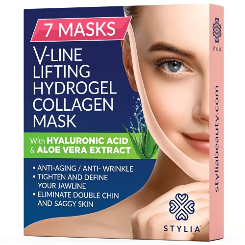 7 Piece V Line Shaping Face Masks – Lifting Hydrogel Collagen Mask with Aloe Vera – Anti-Aging and Anti-Wrinkle Band - Double Chin Reducer Strap - Contouring, Slimming and Firming Face Lift Sheet
