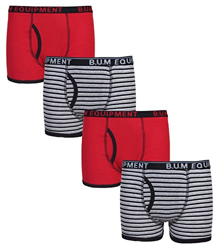 B.U.M. Equipment Boys 4 Pack Solid Underwear Boxer Briefs, Solids and Stripes, Red/Stripes, Medium / 8-10