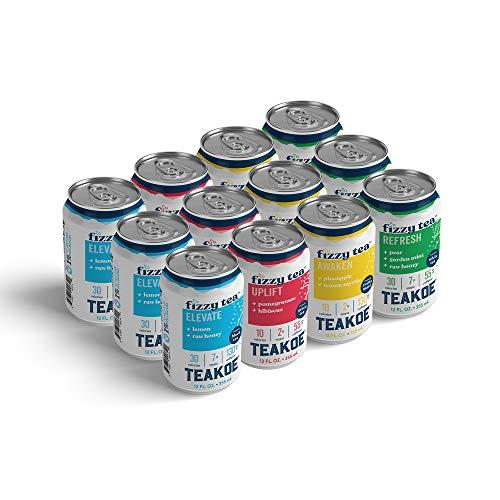 TEAKOE Fizzy Tea Variety Pack | 4 Flavors: Lemon & Honey Black Tea, Pomegranate Green Tea, Pineapple Yerba Mate Tea & Pear Mint White Tea | Truly Brewed Iced Tea, Organic Tea | (12/12 fl oz Tea Cans)