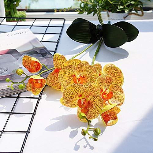 Kunstbloemen Real Touch Orchidee Bruiloft Decoratie 2 Takken Met Bladeren Latex Orchideeën Nepbloemen Huis Tuin Decors, Geel