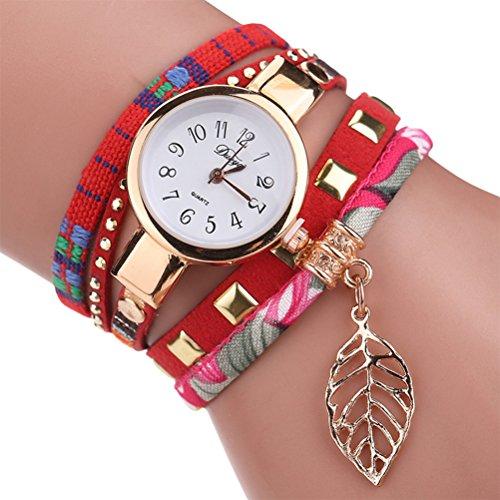 Duoya Classic donne orologio al quarzo signora bracciale orologio da polso al quarzo orologi da polso (rosso)