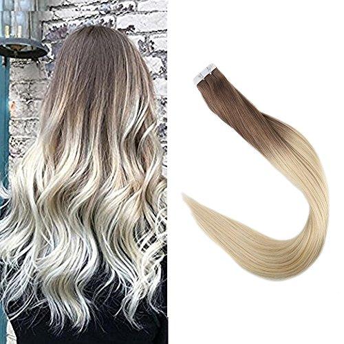 Full Shine 18 Pulgada 20 Piezas 50 Gramos Per Package Color #6B And Color #613 Rubia Ombre Hair Extensions Cinta Adhesiva Doble Cara Extensiones de Cabello Humano