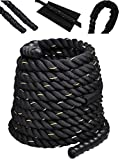 Comie Poly Dacron 30ft/40ft/50ft Length Battle Rope Exercise Workout Strength Training Undulation (1.5' 50ft)