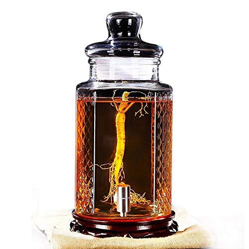 HYXXQQ-fles glazen drankendispenser met lekvrije spigot, houten voet en deksel -5L/10L Mason Jar Drink Dispenser- voor limonade, thee, koud water AA++