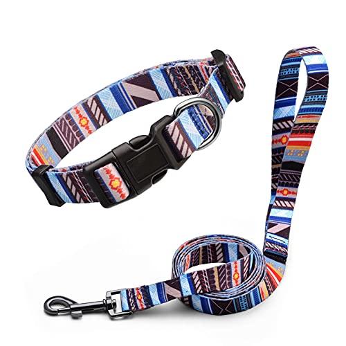 Anbeer Collares Ajustable y Correa 150cm para Perros Grandes, Medianos y Pequeños Entrenamiento Caminar Al Aire Libre (Rayas-XS)