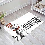 """Prime Leader Doormats for Entrance Way Indoor Freehand Cat Hat Dr. Seuss Welcome Mats 20"""" x 31.5"""", Shoe Scrap Washable Living Room Floor Mats Front Door Mat Non-Slip Carpet Home Kitchen Rug"""
