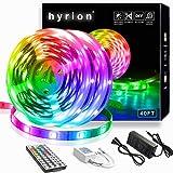 hyrion LED Lights 40ft, LED Strip Lights with 44 Key IR Remote Extra Adhesive 3M Tape - Professional Color Changing 5050 LED Rope Lights for Bedroom, TV, Kitchen, Under Bed Lighting