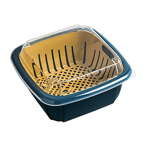 Baoniansoo Double Layer Drain Basket, Fridge Drawer Organizer, Multifunction Plastic Retractable Storage Box with Lid, for Cleaning Veggies Fruits Noodles[Blue]