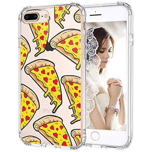 MOSNOVO iPhone 8 Plus Case, iPhone 7 Plus Clear Case, Pizza Pattern Printed Clear Design Transparent Plastic Back Case with TPU Bumper Protective Case Cover for iPhone 7 Plus/iPhone 8 Plus