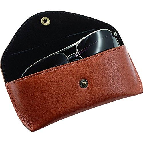 Alassio - Funda de piel auténtica para gafas (tamaño grande, 16 x 7 x 4 cm, 16 cm), color marrón
