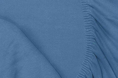 #21 Double Jersey Jersey Spannbettlaken, Spannbetttuch, Bettlaken, 160x200x30 cm, Jeans Blau - 8