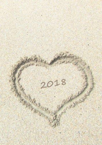 Kalender 2018 - Herz im Sand: DIN A5, 1 Woche auf 2 Seiten, Platz für Adressen und Notizen