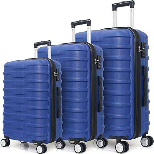 Expandable Hardside 3 Piece Luggage Set with Spinner Wheels and TSA Lock (Navy)