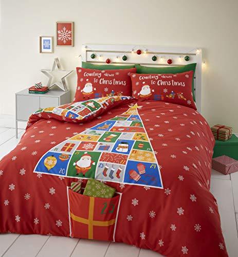 Catherine Lansfield Countdown To Christmas Easy Care - Juego de Funda de edredón para Cama Doble, Color Rojo